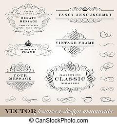 vetorial, bordas, projeto fixo, ornamentos
