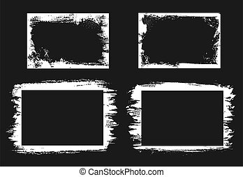 vetorial, bordas, retangular, isolado, fronteiras, grunge