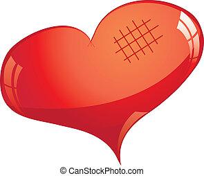vetorial, brilhar, cutted, coração, vermelho, ilustração