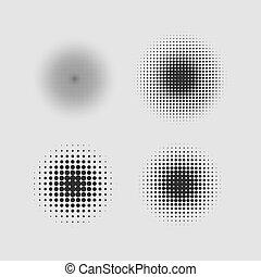 vetorial, círculo, halftone