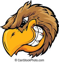 vetorial, cabeça, illustrati, pássaro, caricatura