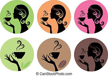 vetorial, café, mulher, chá