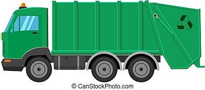 vetorial, caminhão, ilustração, isolado, lixo, fundo, branca