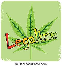 vetorial, cannabis, descrição, legalize, folha