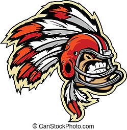 vetorial, capacete, gráfico, futebol, penas, chefe, indianas, lmage, mascote