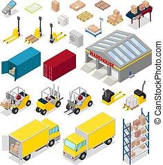vetorial, carga, bussiness, industrial, storehouse, indústria, warehouser, armazenamento, isolado, ilustração, entrega, jogo, fundo, armazém, distribuição, branca