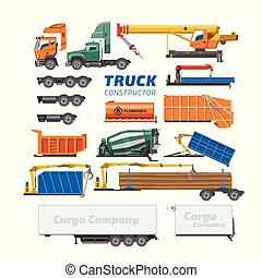 vetorial, carga, jogo, transporte, logistic, construtor, isolado, ilustração, trucking, entrega, concreto, construção, caminhão, misturador, fundo, veículo, branca, ou, transporte