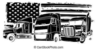 vetorial, caricatura, desenho, semi, arte, caminhão, ilustração