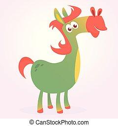 vetorial, caricatura, ilustração, horse.