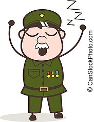 vetorial, caricatura, muito, sonolento, sentimento, ilustração, sargento