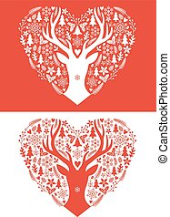vetorial, cartão natal, coração