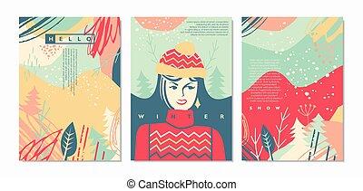 vetorial, cartões, saudações, estilo, inverno, boho