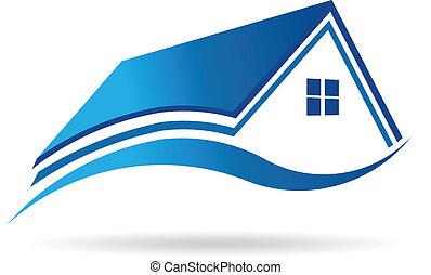 vetorial, casa, propriedade, ícone, aqua azul, image., real