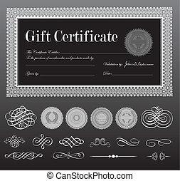 vetorial, certificado, pretas, jogo