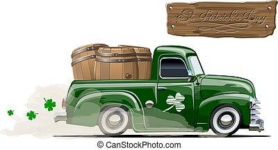 vetorial, cerveja, caricatura, patrick's, pick-up, retro, são