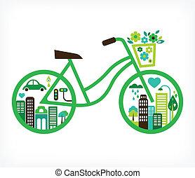 vetorial, cidade, -, bicicleta, verde