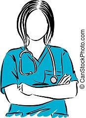 vetorial, cima, ilustração, doutor, mulher, fim