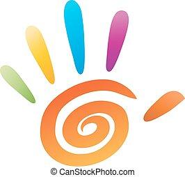 vetorial, cinco, dedos, ícone, mão