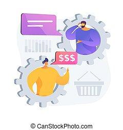 vetorial, cliente, conceito, loja, metáfora, apoio, online