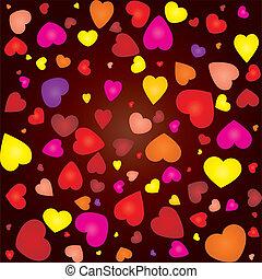 vetorial, colorido, seamless, ilustração, valentine, fundo, corações, cartão