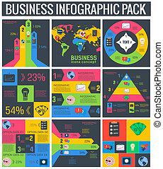 vetorial, colors., apartamento, elementos, jogo, 9, infographic, cobrança, negócio, desenho, ilustração, conceito, vindima