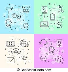vetorial, conceito, centro, ícones, apoio, ilustração, infographic, chamada, linha