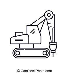 vetorial, conceito, desenho, linha, branca, símbolo, esboço, editable, teia, broca, ícone, isolado, apoplexia, ilustração, experiência., sinal, linear, escavador, magra