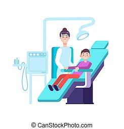vetorial, conceito, doutor, escritório., dental, odontologia, odontólogo, patient., higiene, childs, exames, dentes, oral, stomatology, criança