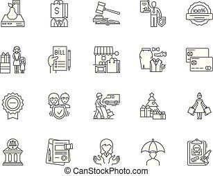 vetorial, conceito, esboço, jogo, consumidor, ícones, ilustração, proteção, linha, sinais