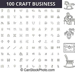 vetorial, conceito, esboço, negócio, jogo, ícones, ilustração, arte, linha, sinais