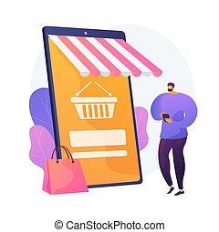 vetorial, conceito, metáfora, fazendo compras online