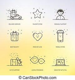 vetorial, conceito, shopping, negócio, marketing, ícones, ilustração, jogo, linha, style., comércio