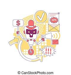 vetorial, conceito, teia, bot, design., ai, spam, newsletter., correio, software, criativo, 2d, mau, anúncios, idéia, illustration., automatizado, enviando, anúncio, robô, caricatura, personagem, linha, desejado, magra