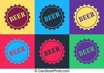 vetorial, cor, estouro, isolado, experiência., palavra, garrafa, arte, cerveja, boné, ícone