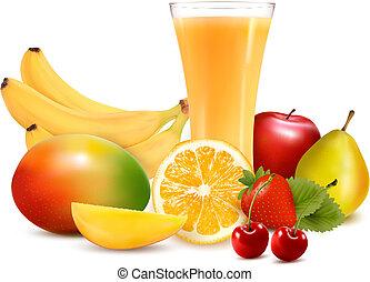 vetorial, cor, ilustração, fruta, juice., fresco