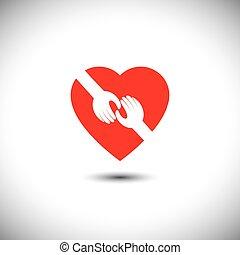 vetorial, coração, conceito, amor, -, dois, tocar, mãos, ícone