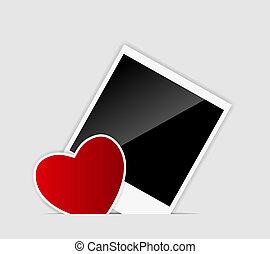 vetorial, coração, em branco, instante, foto, ilustração