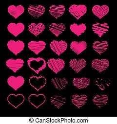 vetorial, coração, esboço, jogo, ícones