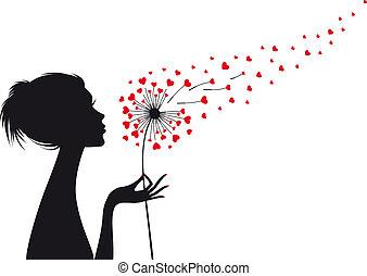 vetorial, coração, mulher, dandelion