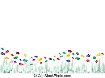 vetorial, corações, flores, primavera