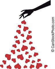 vetorial, corações, mão