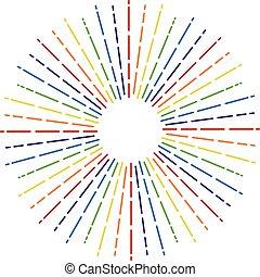 vetorial, cores arco-íris, starburst