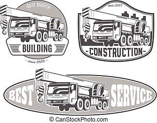 vetorial, crane., logos., truck-mounted, jogo