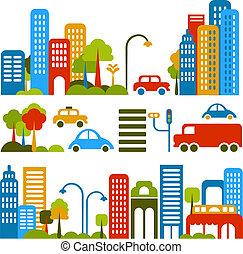 vetorial, cute, rua, ilustração, cidade