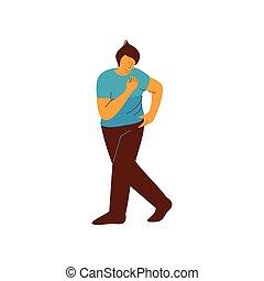 vetorial, dançar, personagem, jovem, ilustração, dançarino, macho, homem