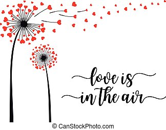 vetorial, dandelion, voando, corações, cartão
