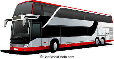 vetorial, decker, coach., dobro, vermelho, bus., ilustração, turista