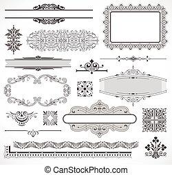 vetorial, decoração, jogo, página, elementos
