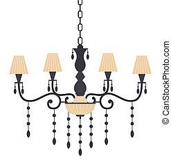 vetorial, decorativo, interior, luster, elemento, sala, lustre, illustration., apartamento, vivendo, vindima