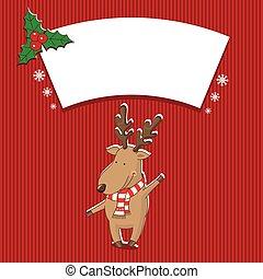vetorial, deer., ilustração, natal